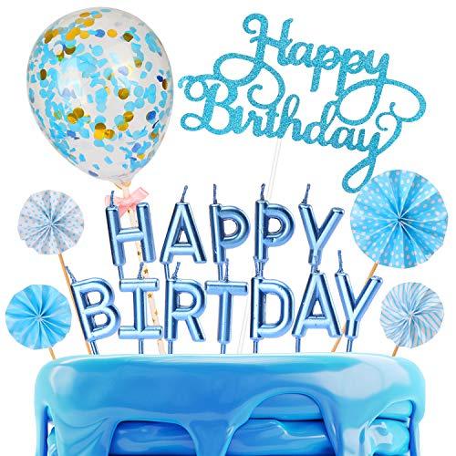 Sinwind Cake Topper, Tortendeko Geburstagstorte Deko, Kuchendeckel, Cupcake Topper, Topper Golden Konfetti Luftballon Sonnenblume Papierfächer Kuchendeko Geburtstagstorte (Blau)