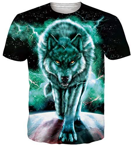 ALISISTER Herren Damen Coole T-Shirts 3D Galaxis Wolf Druck Tshirt Casual Sommer Kurzarm Neuheit Tee Shirts für Party L