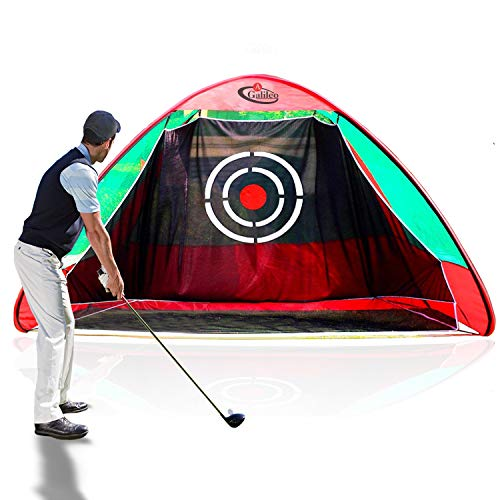 GALILEO Golf Nets Driving Range 8'(L) X7'(H) X7'(W) Pop Up Golf Hitting Net Training Aid for Backyard Indoor with Target and Carry Bag Black