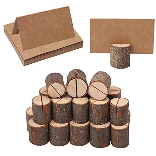 Lot de 60 Porte carte en bois,Porte Noms de Table avec écorce de Bois,Rustique porte-menu en bois pour la décoration de bureau à domicile de fête de Noël de mariage