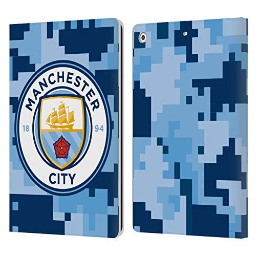 Officiële Manchester City Man City FC Bluemoon Digitale camouflage Lederen Book Portemonnee Cover Compatibel voor Apple iPad 10.2 (2019)