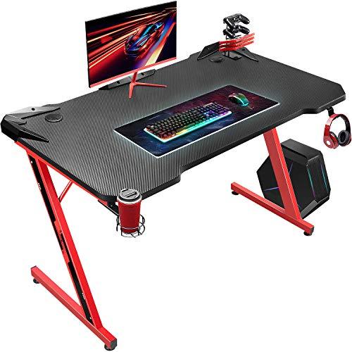 JUMMICO Gaming Schreibtisch Computertisch Pc Gamer Tisch Ergonomischer Computer Schreibtisch Home Office Studententisch mit Getränkehalter und Kabelmanagement, Rot
