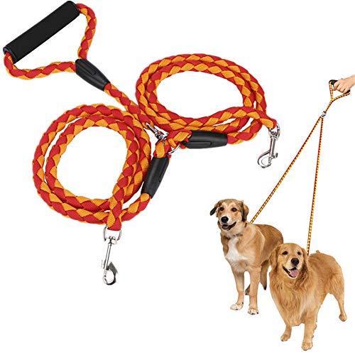 Dubbele Hond Lood Dubbele Hondenriem Hond Leidt Sterke Hond Lead Splitter Hond Slip Lead Leiband Voor Grote Honden Touw Hond Lood yellow