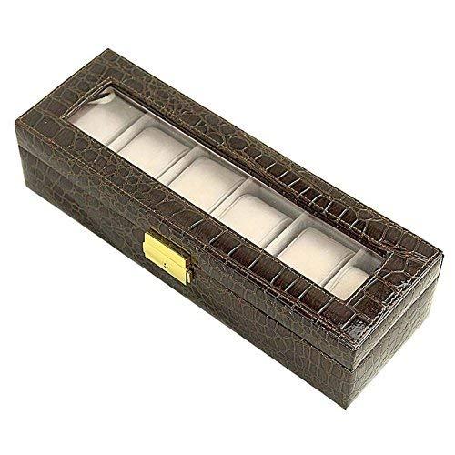 Sorbus Watch Box 6 Mens Black Leather Display Plexi Glass Top Jewelry Case Organizer