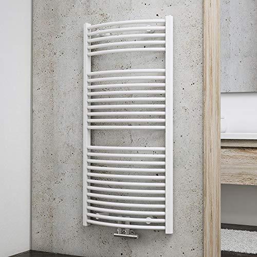 Schulte Bad-Heizkörper München rund, 121 x 60 cm, 716 Watt, Mittelanschluss, alpin-weiß, Handtuchhalter-Funktion