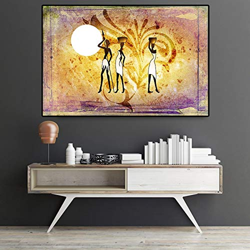 XCSMWJA Figura Africana Abstracta Flor Paisaje Dorado Pintura Al Óleo sobre Lienzo Carteles E Impresiones Arte Cuadro De Pared para Sala De Estar 40x50cm