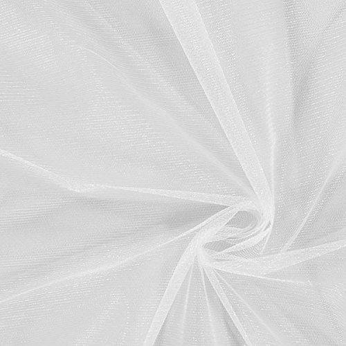 Fabulous Fabrics Tüll weiß, Uni, 150cm breit – zum Nähen von Brautschleiern, Petticoats und Röcken - Meterware erhältlich ab 0,5 m