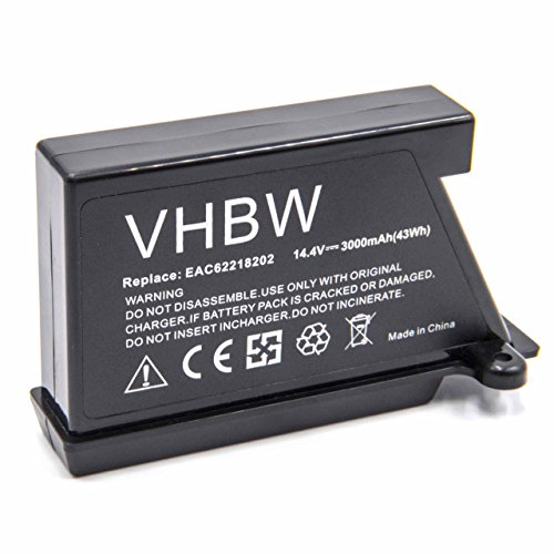 vhbw Li-Ion Akku 3000mAh (14.4V) passend für Saugroboter Home Cleaner Heimroboter LG HomBot VR6260LVM, VR62701LV, VR62701LVB, VR62701LVM, VR62701LVMB