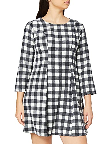 COMPAÑÍA FANTÁSTICA Vestido Ajustado Blancos y Negro, Multicolor (Cuadros 000058), 40 (Tamaño del Fabricante:M) para Mujer