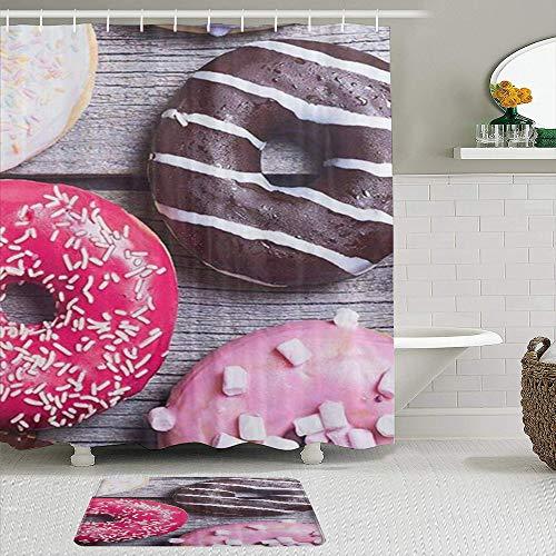 PbbrTK Stoff Duschvorhang & Matten Set,Mode Coole Donuts Kuchen Süßigkeiten Donut,Wasserabweisende Badvorhänge mit 12 Haken,rutschfeste Teppiche