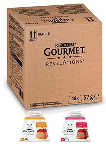 PURINA GOURMET REVELATIONS Cibo Umido per Gatti, Manzo & Pollo, 48 confezioni da 57 g