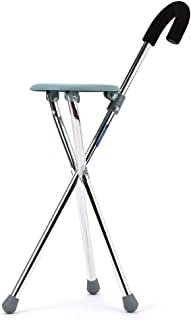 Crutches for The Elderly Four-Legged Cane with Seat Walker Trekking Pole