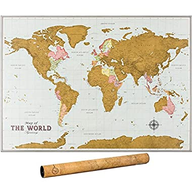 Scratch Off Map of the World - Travel Map with Outlined Canadian and US States | World Map Scratch Off Poster | Highly Detailed Cartography | XL Large Size 33 x 24 Inches | World Vintage Map