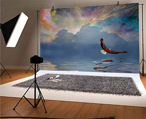 Eagle 7x5 FT Vinyl Photo Backdrops,Majestic Huge Bird Flying above the Sea into the Starry Sky Freedom Themed Image Background for Selfie Birthday Party Pictures Photo Booth Shoot