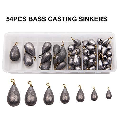 Shaddock 54stk Sortiert Bell/Bass Casting Sinker Bleie Gewichte Angelausrüstung kit