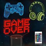 CooPark Pixel Spiel über Illusions lampe, Gamepad 3D Nachtlicht (3 Muster) mit Fernbedienung 16 Farbwechsel Spielzimmer Dekor Beste Weihnachtsgeburtstagsgeschenke für Kinder Jungen Kind