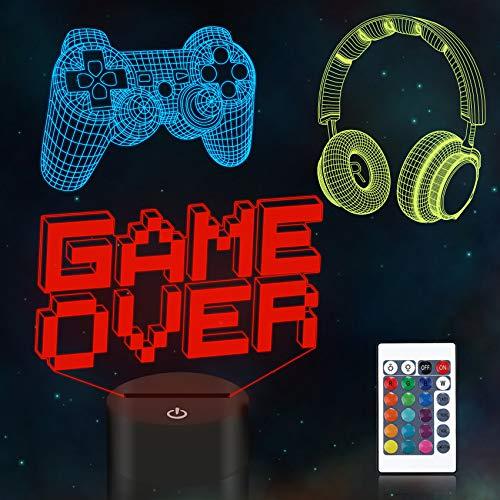 Lámpara CooPark Pixel Game Illusion, Luz nocturna 3D para gamepad (3 patrones) con control remoto 16 colores que cambian la decoración de la sala de juegos Los mejores regalos de cumpleaños