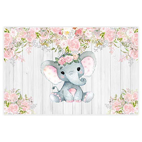 Allenjoy 5x3ft Pink Rustic Floral Elephant Backdrop Supplies for Newborn Kids 1st Birthday Baby Shower Wood Flower It's a Girl Party Decorations Studio Cake Smash Photoshoot Props Favors Background