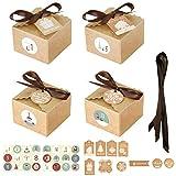 SUCHUANGUANG 24 Juegos de Navidad 1-24 Calendario de Adviento Caja de Dulces de Papel Kraft con Etiquetas Pegatinas Cajas de Papel 2#