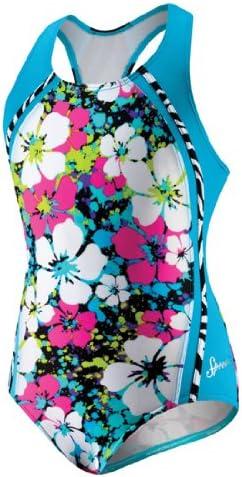 Baltimore Mall Speedo Big Girls' Splatter Hibiscus Swims Sport Piece Splice Discount mail order One