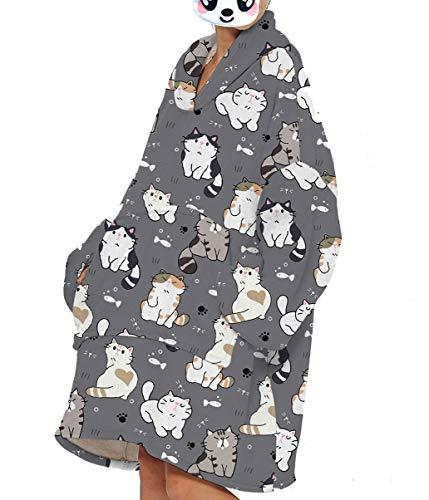 Sucor Damen Unisex Übergroß Tragbare Decken Hoodie Superweicher Sherpa Decken Pullover(One Size,mtcr36)
