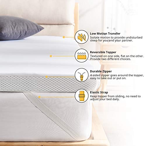 Smile Back 3 Inch Firm Mattress Topper King, Egg Crate Mattress Topper for Pressure Relief, Cooling GraphiteMattress Topper with Washable Cover, CertiPUR-US (King Size)