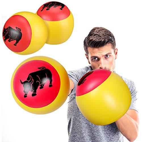 Skylety 2 Paar Aufblasbare Boxkissen Aufblasbare Boxhandschuhe Rot und Gelb (Erwachsenengröße, Bull)