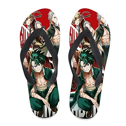7REND Custom Flip Flops Deku Shoto Katsuki Academia Anime Thong SandalsKirishima My Hero Beach Slippers for Women Men Daily Indoor Outdoor Activities Black