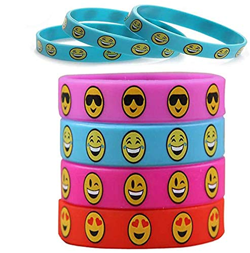 40pcs Cute Cartoon Smiley Face Silicone Kids bracelet for Children Kids Bangles Jewelry Silicone Bracelet Party Supplies
