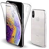 Moozy Funda 360 Grados para iPhone X, iPhone XS Transparente Silicona - Full Body Case Carcasa Protectora Cuerpo Completo