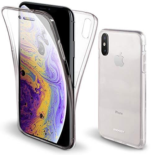 Moozy 360 Grad Hülle für iPhone X, iPhone XS - Vorne & Hinten Transparenter TPU Ultra Dünn Weiche Silikon Handyhülle Case