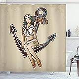 ABAKUHAUS Anker Duschvorhang, Seemann-Mädchen-Motiv, Moderner Digitaldruck mit 12 Haken auf Stoff Wasser & Bakterie Resistent, 175 x 180 cm, Multicolor