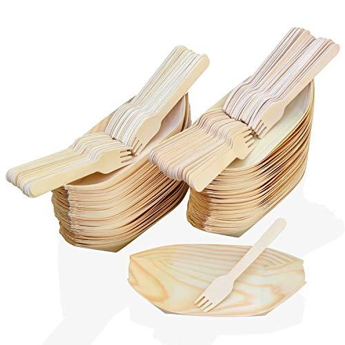 MEGYAR Barchette da Portata in bambù Ecologiche - Confezione da 100 Piatti USA e Getta in Foglia di Alta qualità - Include 100 Forchette di Legno Naturali Robuste