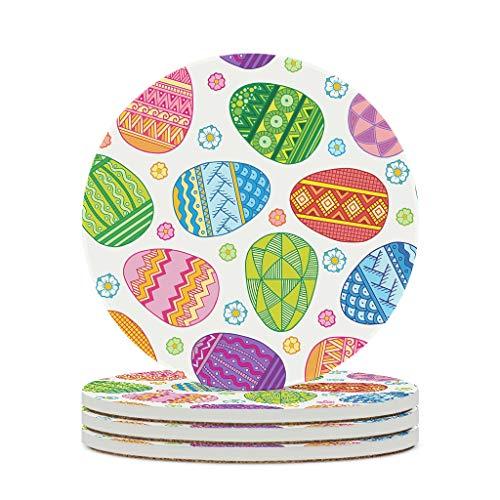 Wraill Posavasos redondos de cerámica bohemia geométrica de huevos de pascua, juego de 4/6 unidades, posavasos de porcelana con parte trasera de corcho para vasos y tazas, color blanco, 6 unidades