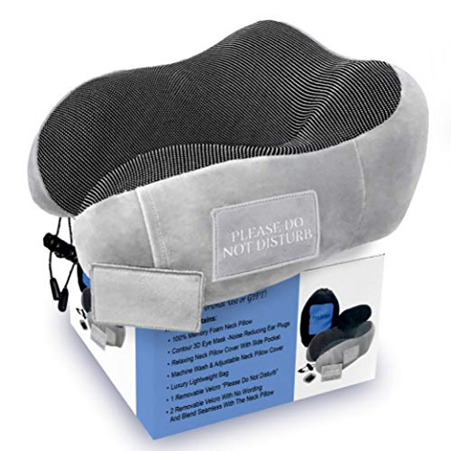 Pinacam Products Easy to USE Travel Neck Pillow 100% Memory Foam to Relax and Support Head & Neck! Includes Washable Pillowcase, Bag, Eye Mask, Earplugs, Removable Velcro Design to Stop Distractions!