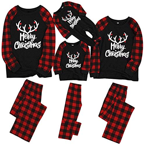 IFFEI Matching Family Pajamas Sets Christmas PJ's with Letter and Plaid Printed Long Sleeve Tee and Pants Loungewear 6-7 Years Black