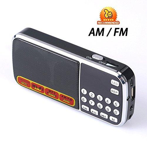 Ohala Mini Portable Am/Fm Radio Mp3 Music Player Speaker Support Micro Sd/tf Card (Black)