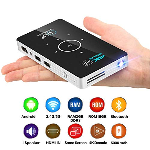 ZXL Beamer zakprojector 4k Dlp Mini Projector Android Quad Core Dual Band WiFi Bluetooth Pico Projector, 2G+16GB