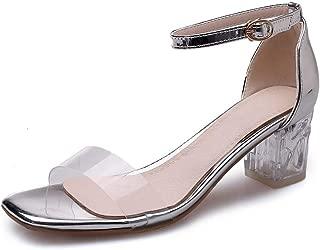 MIOKE Women's Clear Strappy Block Heel Sandals Crystal Open Toe Buckle Ankle Strap Chunky Heeled Sandal