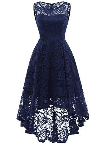 MuaDress 6006 Elegante Abendkleider Cocktailkleider Damenkleider Brautjungfernkleider aus Spitzen Knielange Rockabilly Ballkleid Rund Ausschnitt Marineblau M