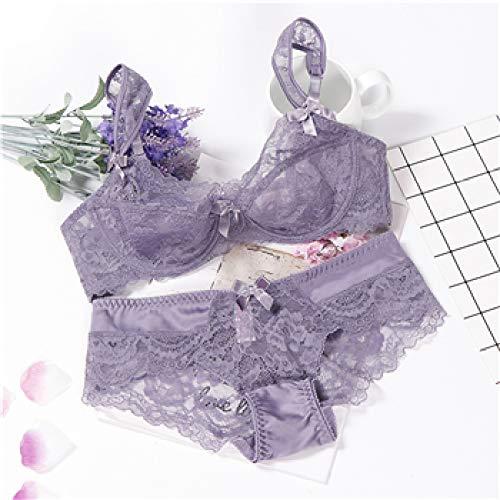 sakkdaull erotico Spitze gesetzt transparentSleepwear Mesh - Bademantel erotische Unterwäsche - Schwarz - Spitze Lila 80B