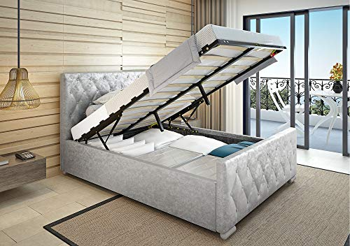 PANANASTORE 5FT Silver Crushed Velvet Ottoman Bed, King Size Hydraulic Gas Lift Storage Upholstered Bed Frame Bedstead with Tall Headboard, Metal and Slatted Base for Bedroom Apartment Dorm