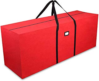 """Primode Holiday Tree Storage Bag, Heavy Duty Storage Container, 25"""" Height X 20"""" Wide X 65"""" Long (Red)"""