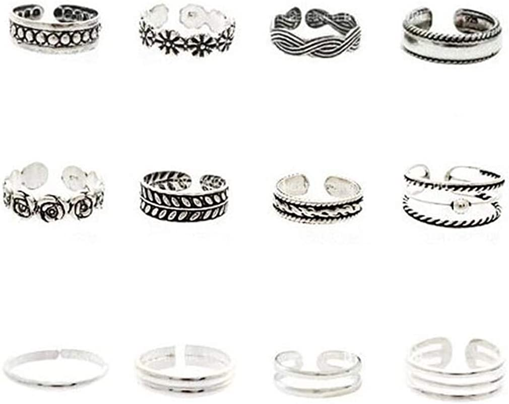 SOURBAN 12 Pcs Open Ring Trendy Fashion Seaside Toe Ring Set Feet Accessories Toe Joint Ring