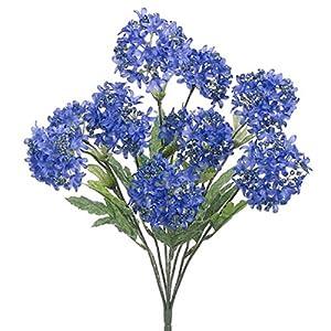 "Silk Flower Arrangements 18"" Silk Snowball Flower Bush -Blue/Helio (Pack of 12)"