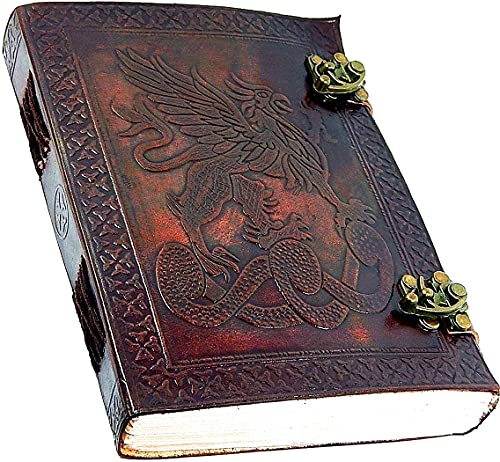 Montexoo Leather Journal Dragon Dungeons Dragonette Diary Sketchook Notebook with Lock for Men Women Dnd Travel Bullet Handmade Vintage Old Antique Writing Large Old Cool Brown 8 Inch