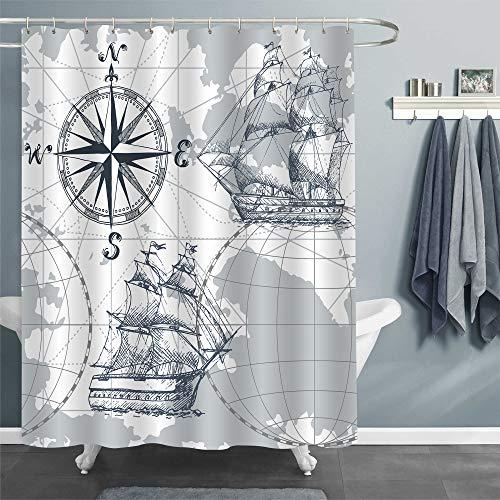 MitoVilla Vintage Nautical Segelboot Weltkarte Duschvorhang Piratenschiff Kompass & Anker Badezimmer Dekor für Männer Kinder Jungen Geschenke Wasserdicht Waschbar Stoff Zubehör Grau 72 x
