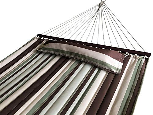 SueSport NEW Hammock Quilted Fabric with Pillow Double Size Spreader Bar Heavy Duty, Off-White/Green/Brown Pattern