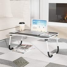 Laptop Tray Table with Foldable Legs, Wood Bed Breakfast Tray, Smartphone Tablet Laptop Desk for Homework Online College, Portable Laptop Stand for Couch Floor Sofa Kid