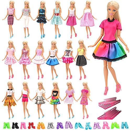 Miunana 60 Artículos = 20X Vestidos de Corto + 20 Pares Zapatos y 20 Perchas Vestir Ropa Casual Accesorios como Regalo para 11.5 Pulgadas 28 -30 CM Muñeca Doll